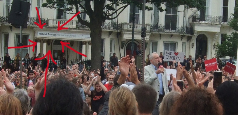 'Robert Tressell' sign on student halls of residence is backdrop to Jeremy Corbyn speaking to a rally in Hastings.