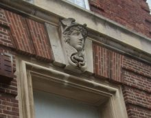 Mercury figure on the (empty) Post Office building