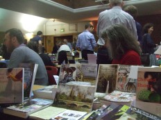 Author Cathy Edmunds minds the Earlyworks Press/Circaidy Gregory stall at a book fair at conway Hall
