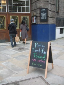 Street-edge chalk board - Poetry Book fair today! Free entry!