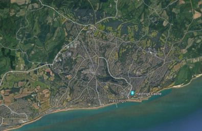 Map of Hastings, showing Silverhill - pretty much at the centre