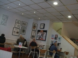 reading and chatting in the café