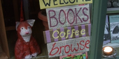 Shrewsbury shop window - welcome, books, coffee, browse, tea