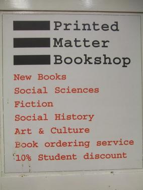 Printed Matter Bookshop sign