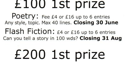 Earlyworks Press writing competitions - click link at end of blog entry for full details
