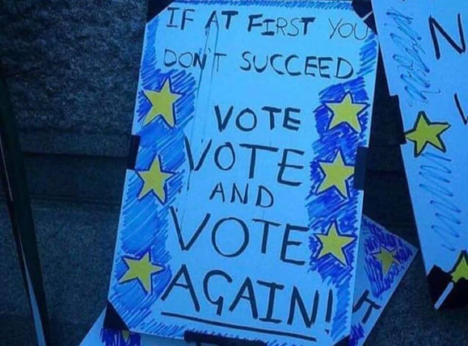 Placard: if at first you don't succeed vote, vote and vote again