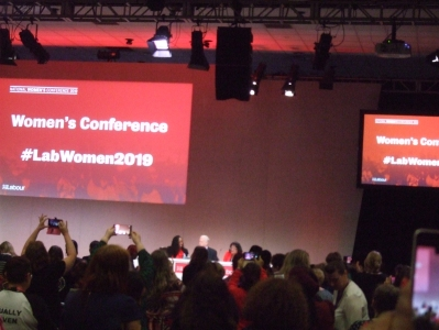 Diane Abbott, Jeremy Corbyn and Dawn Butler take the stage at women's conference