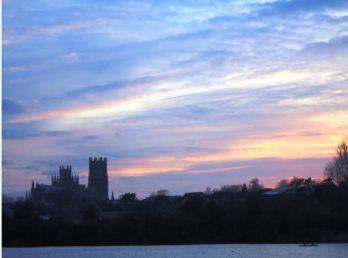 Ely skyline with misty sunset
