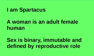 I am Spartacus. A woman is an adult female human. Sex is binary, immutable and defined by reproductive role.