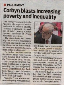 Article clipping: headline: Corbyn blasts increasing poverty and inequality
