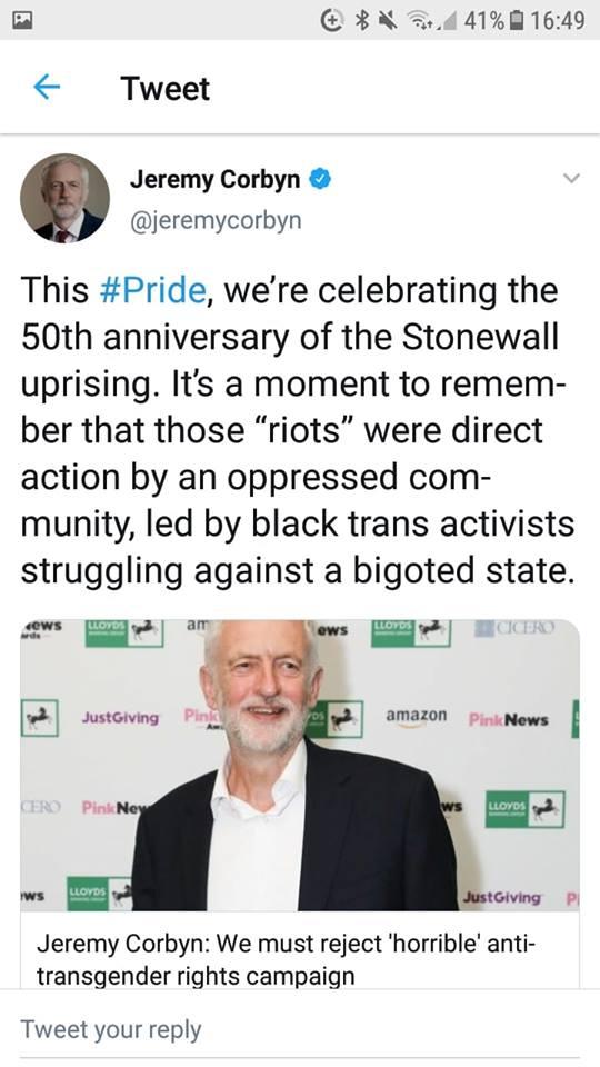 jeremy corbyn on Pride