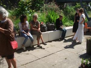 Chatting in the garden
