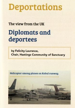 page from the book showing helicopter arriving in Kabul, and intro to Felicity Laurence's essay about 'diplomats and deportees'