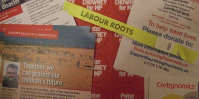 Labour Roots and Peter Chowney campaign materials