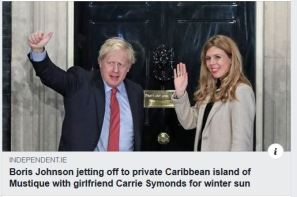 Contrast to previous - snap from the Indie showing Mr Johnson jetting off for an expensive Christmas elsewhere.