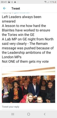 Tweet - the Remain message was pushed because of the Leadership ambitions of the London MPs - not ONE of them gets my vote.