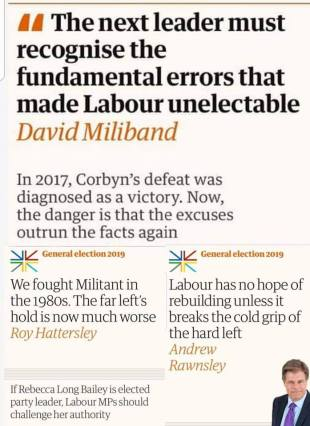 Panel of recent Guardian headlines suggesting the left is, basically, over