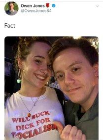 A very drunk Owen Jones with a girl wearing a 'will suck dick for socialism' teeshirt