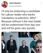 Meme by Aaron Bastani - the next leader must back mandatory re-selection