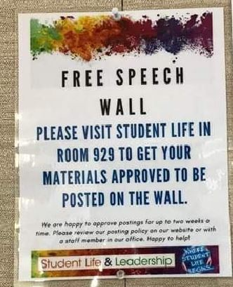 FREE SPEECH WALL: notice: please visit student life in room 929 to get your materials approved to be posted on the wall.