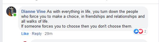 screenshot of a comment: 'As with everything in life, you turn down the people who force you to make a choice.