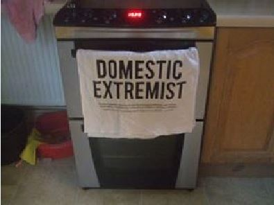 Domestic extremist tea towel
