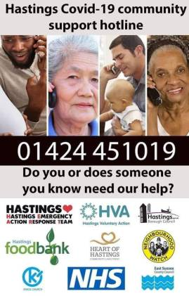 Hastings Covid-10 community support hotline 01424 451019