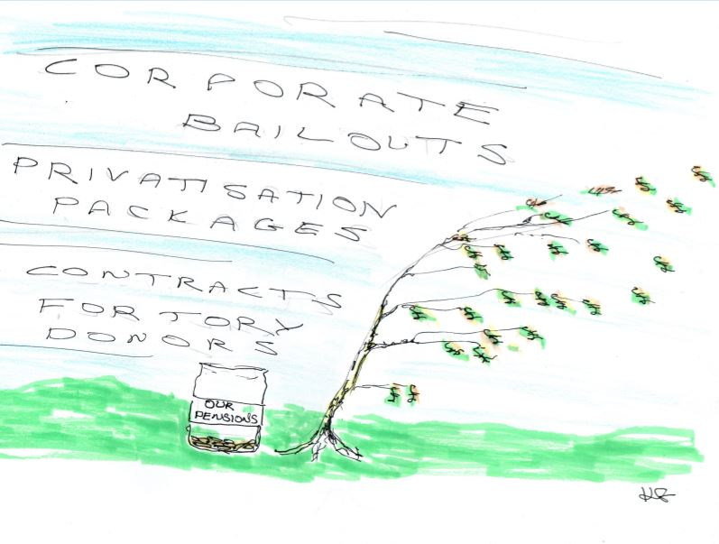 Magic money tree blown away by corporate bailouts, privatisation packages and contracts for tory donors