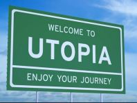 road sign - welcome to utopia