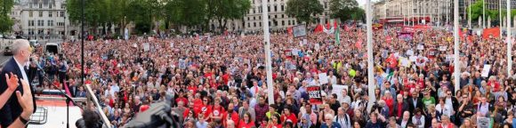 Corbyn addresses a crowd of thousands