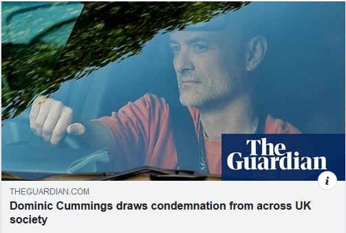 Newspaper headline: 'Cummings draws condemnation from across UK society