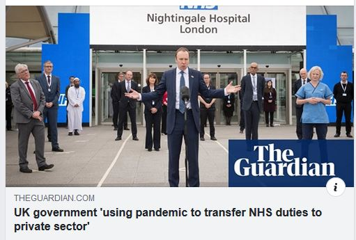 Newspaper headline 'UK government 'using pandemic to transfer NHS duties to private sector'