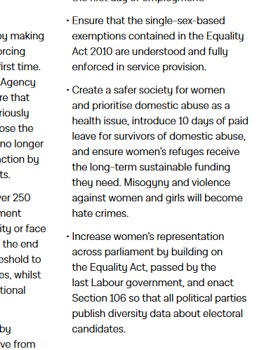 Labour Party manifesto, women and equalities page, committing to ensure that single-sex-based exemptions contained in the Equality Act 2010 are understood and fully enforced in service provision