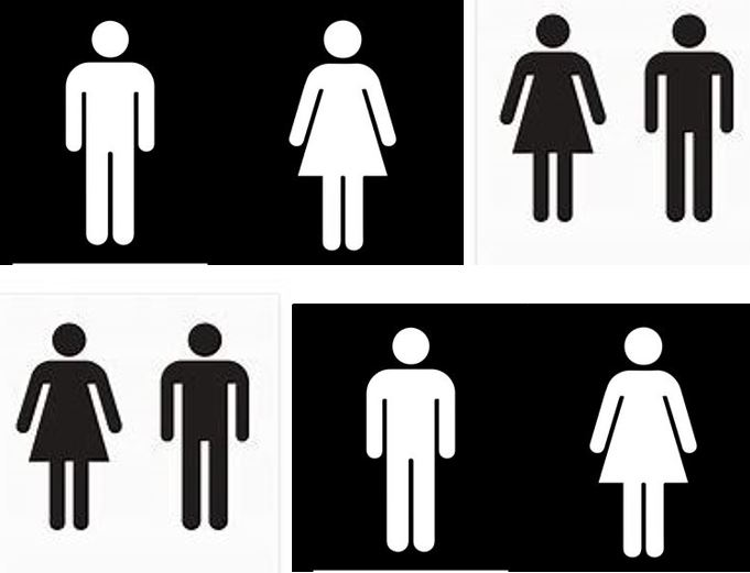 A selection of black and white toilet signs