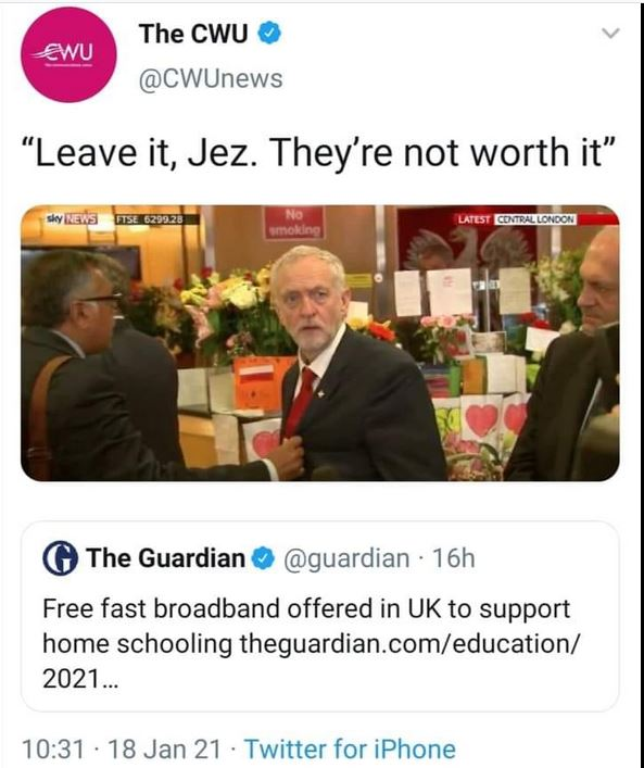"Guardian headline about free broadband being needed for schooling, with caption ""leave it Jez. They're not worth it."""