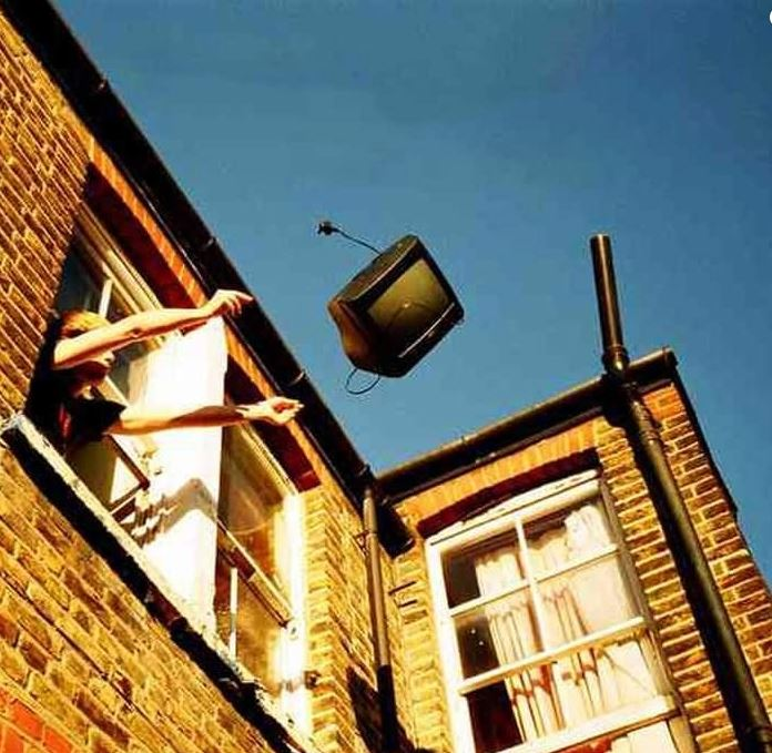 TV being thrown out of the window