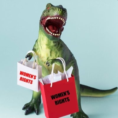 Dinosaur carrying 'bagfuls' of women's rights