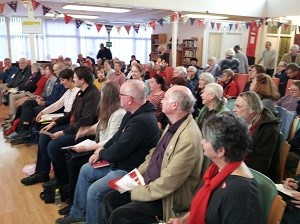 Public meeting at the Isabel Blackman Centre in St Leonards in October 2017, attended by Peter Chowney, then HBC Leader, also Laura Tarling, Post Office Ltd. spokesperson and Amber Rudd, then MP.