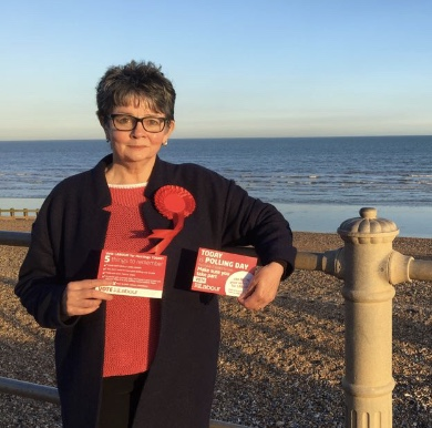 Julia on St Leonard's seafront on the local elections polling day, 3rd May 2018.