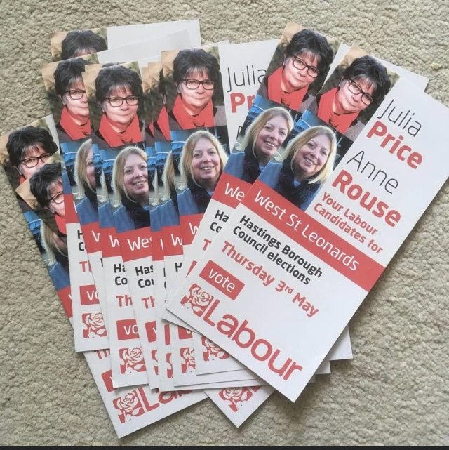 Campaign leaflets: Julia Price, Anne Rouse, Your Labour Candidates for West St Lenoards, Hastings Borough Council Elections Thursday 3rd May
